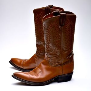 Vintage Tony Lama Brown Leather Cowboy Boots